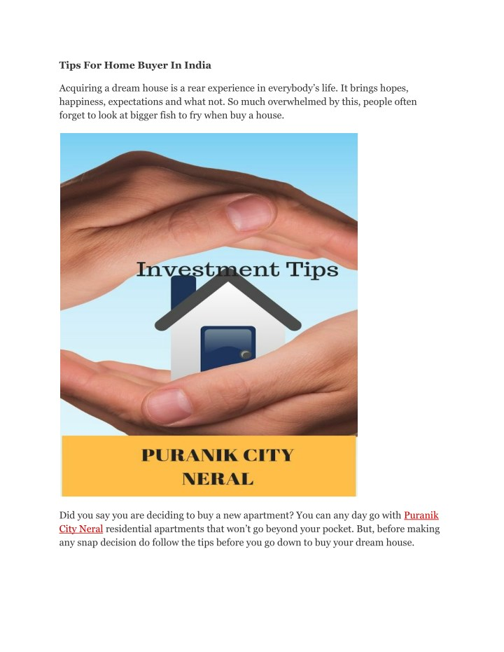tips for home buyer in india n.