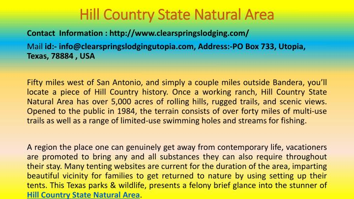 hill country state natural area n.