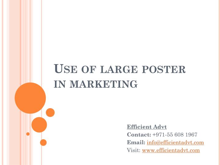 use of large poster in marketing n.