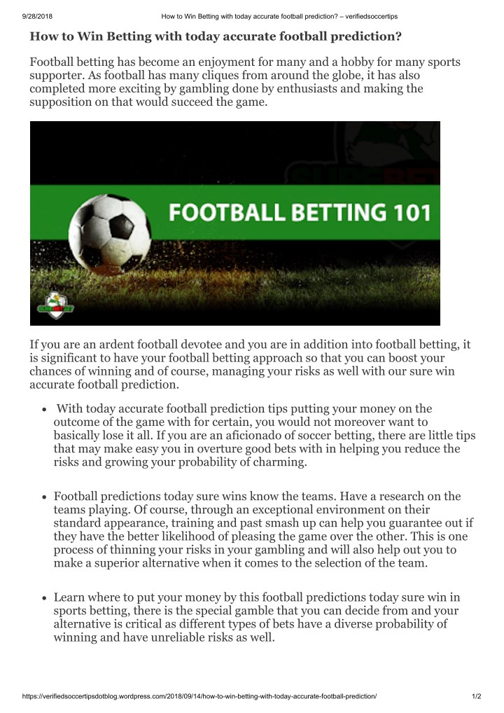 PPT - How to Win Betting with today accurate football prediction