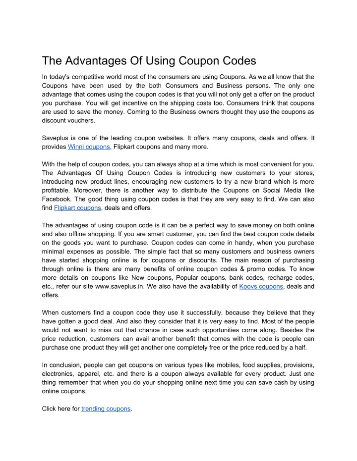 the advantages of using coupon codes n.