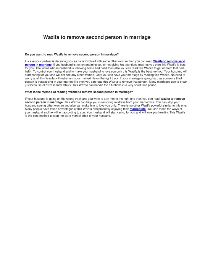 PPT - Wazifa to remove third person out of marriage