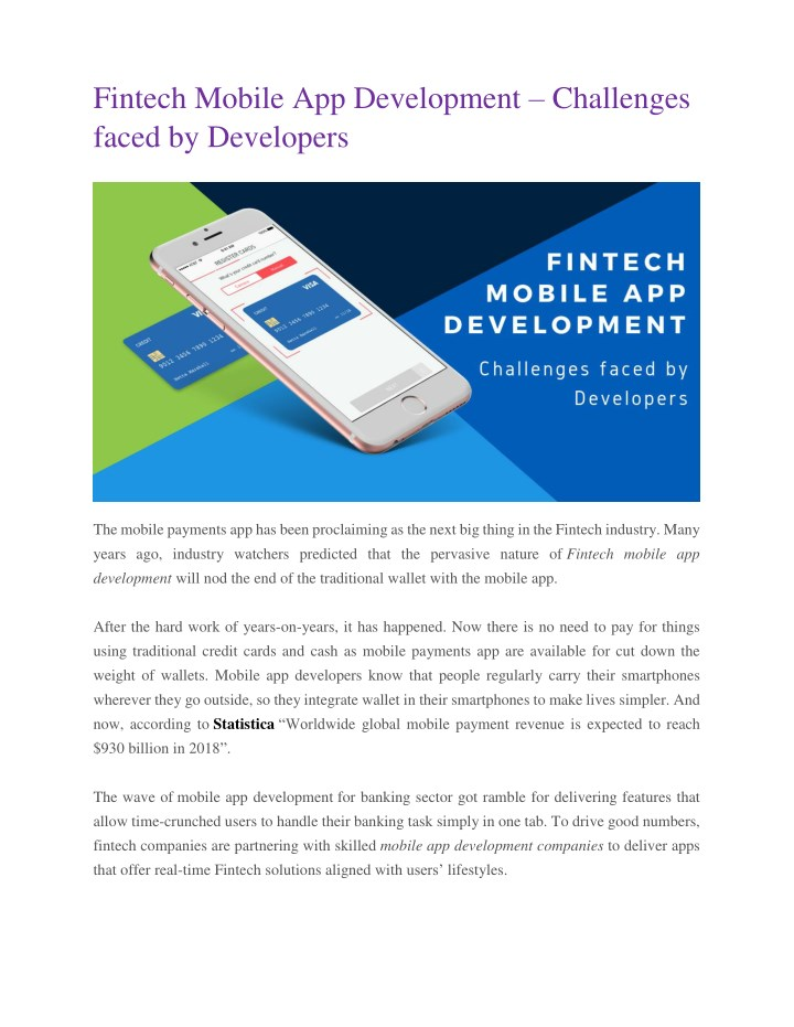 fintech mobile app development challenges faced n.