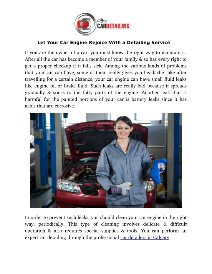 let your car engine rejoice with a detailing n.