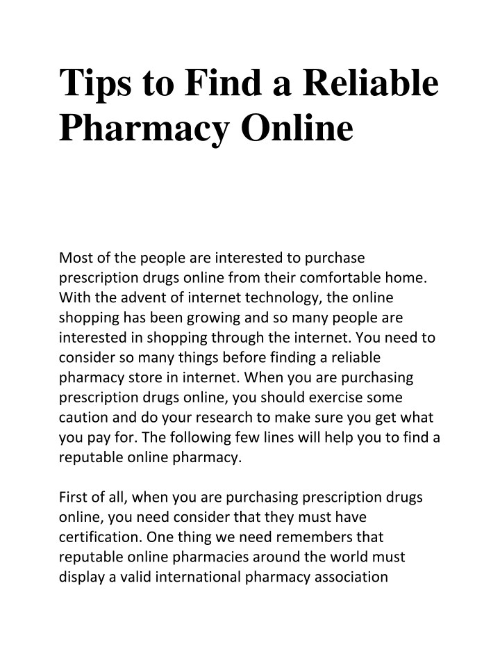 tips to find a reliable pharmacy online n.