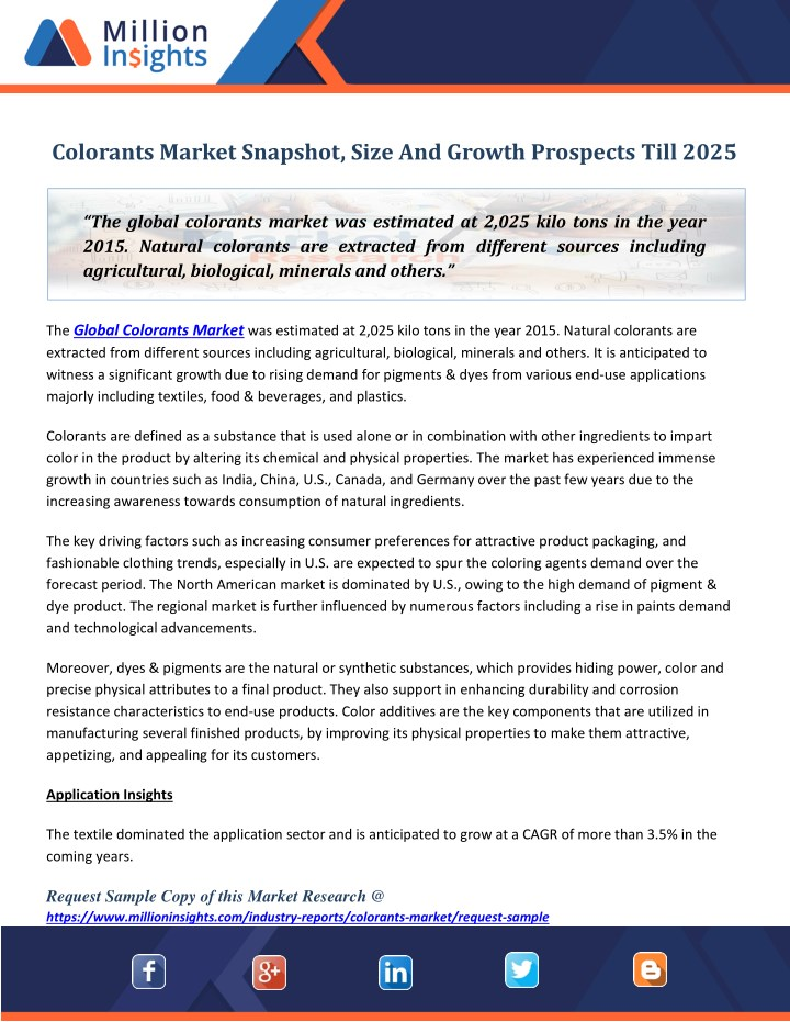 colorants market snapshot size and growth n.