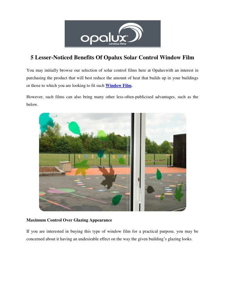 5 lesser noticed benefits of opalux solar control n.