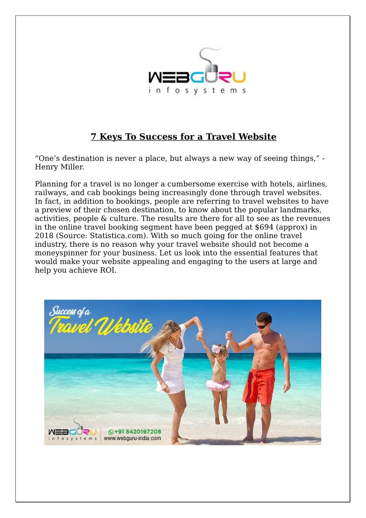 7 keys to success for a travel website n.