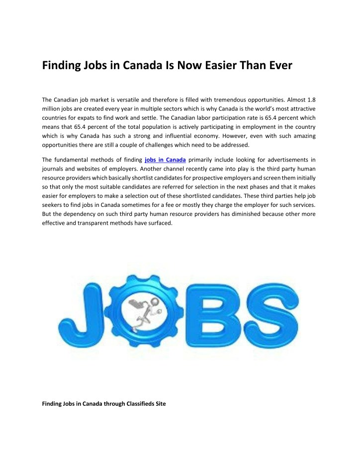 finding jobs in canada is now easier than ever n.