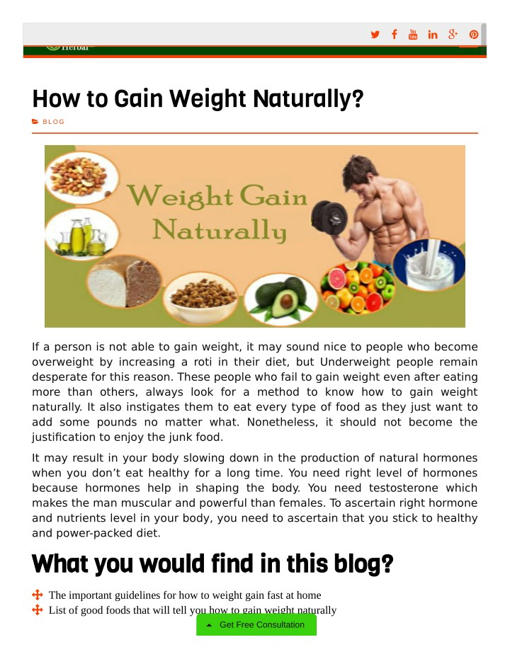 Ppt Gain Weight Naturally Powerpoint Presentation Id 8029433