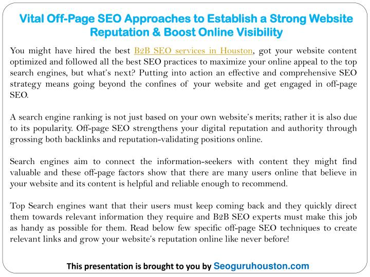 vital off page seo approaches to establish n.