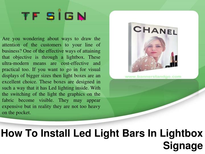 how to install led light bars in lightbox signage n.