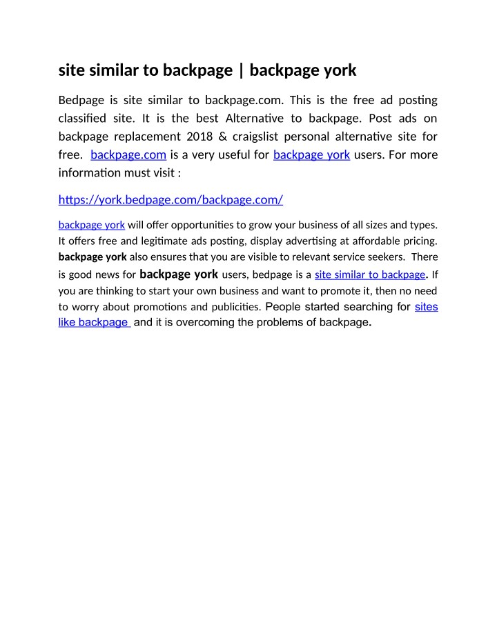 Site Similar To Backpage Backpage York
