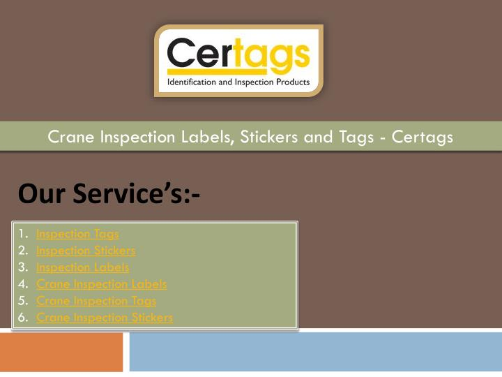 crane inspection labels stickers and tags certags n.