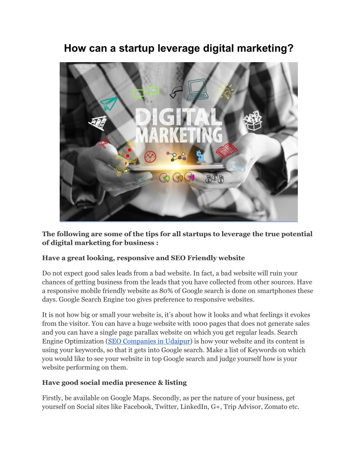 how can a startup leverage digital marketing n.