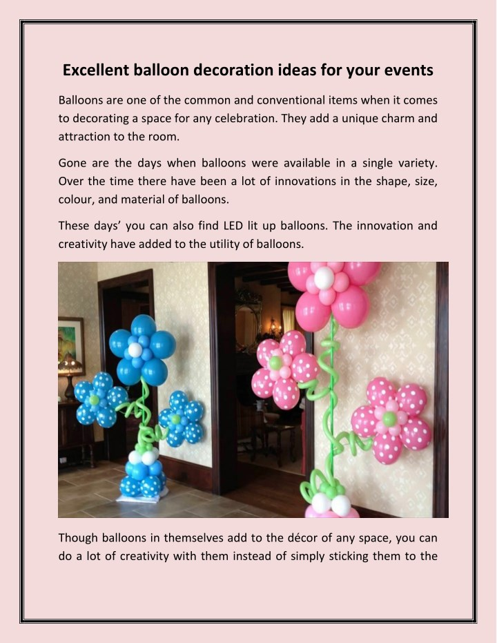 excellent balloon decoration ideas for your events n.