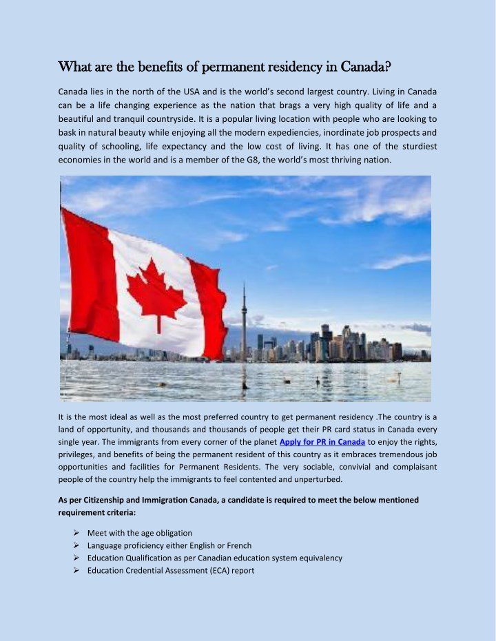 what are the benefits of permanent residency n.