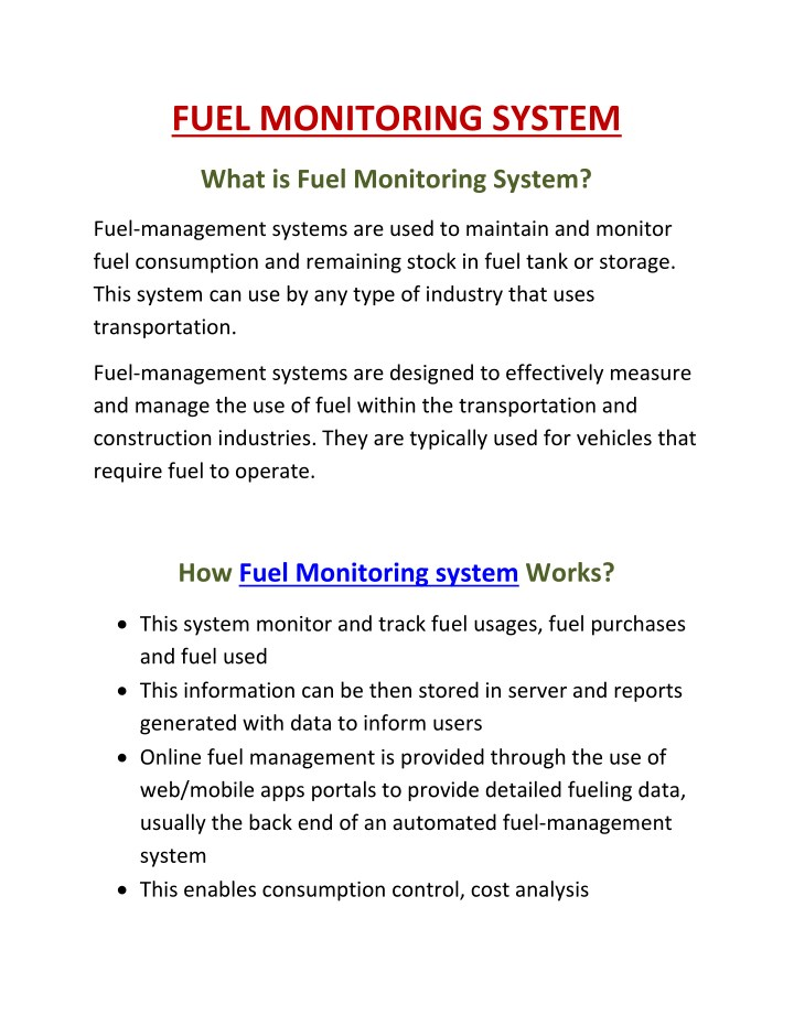 fuel monitoring system n.