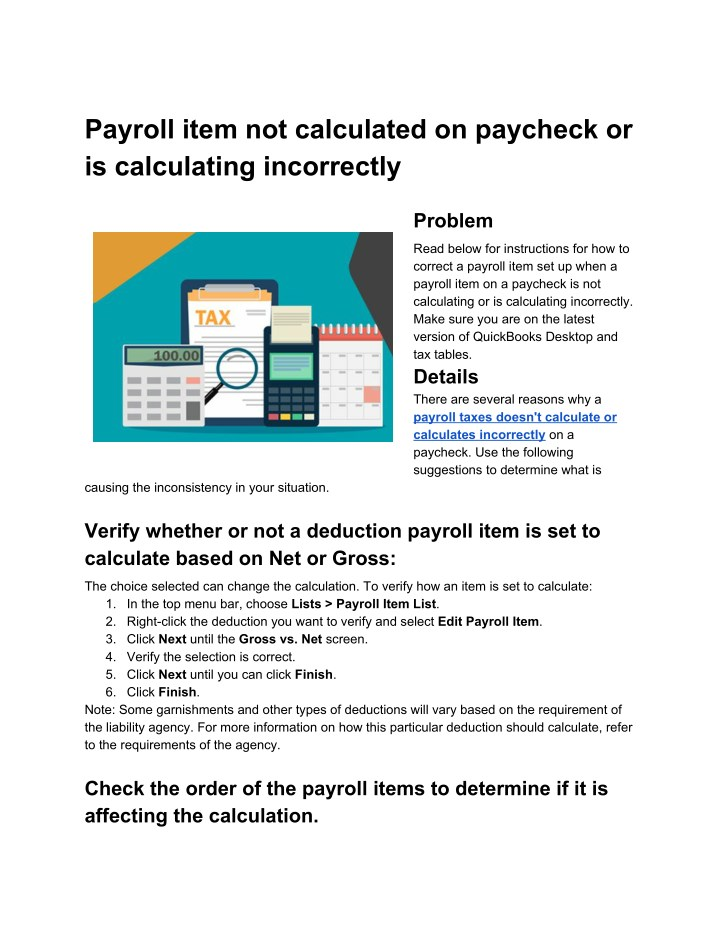 payroll item not calculated on paycheck n.