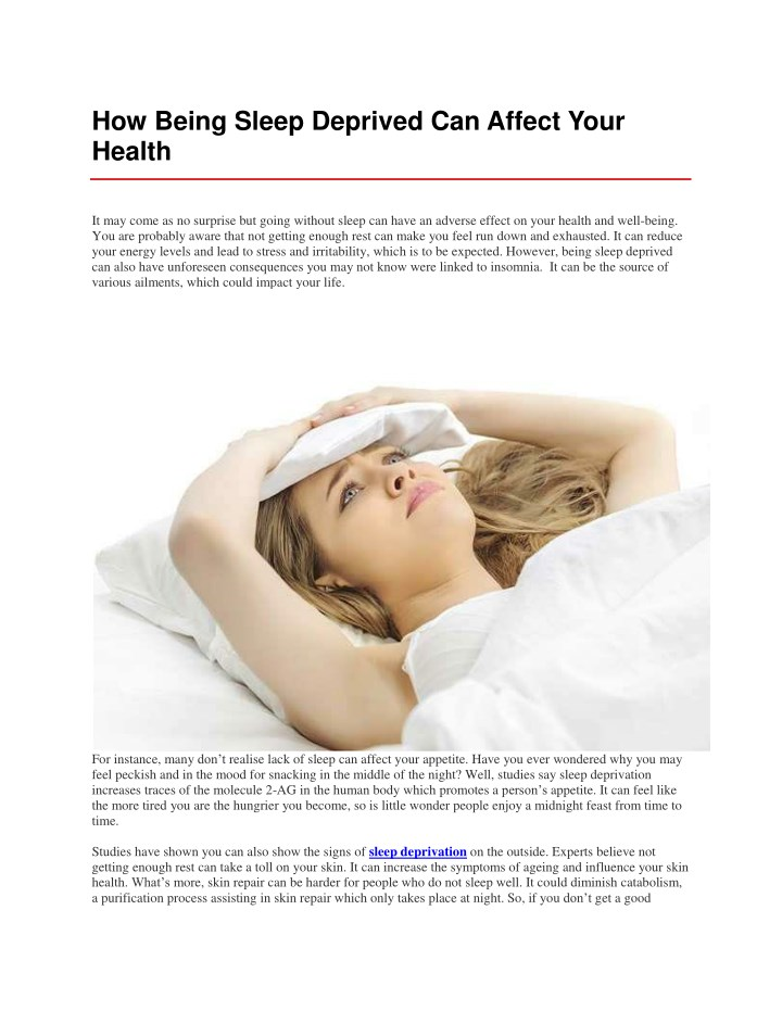 how being sleep deprived can affect your health n.