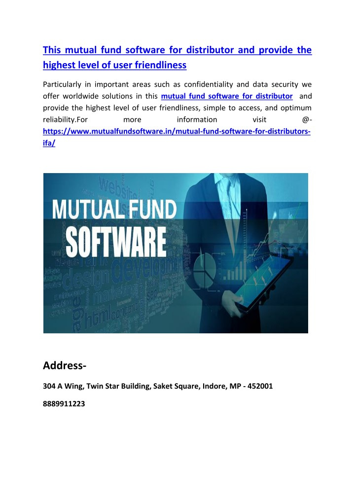 this mutual fund software for distributor n.