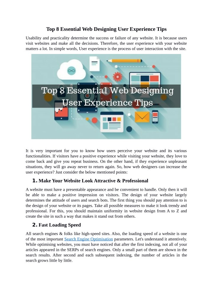 top 8 essential web designing user experience tips n.