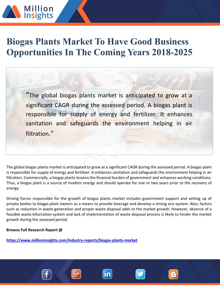 biogas plants market to have good business n.