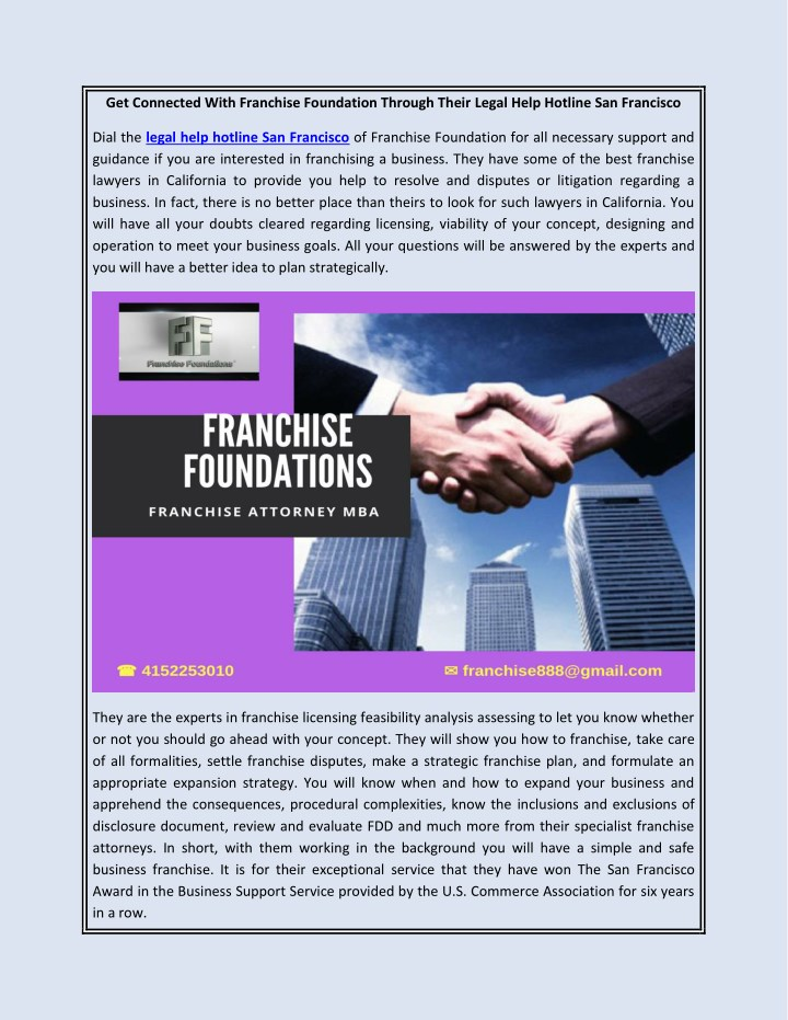 get connected with franchise foundation through n.