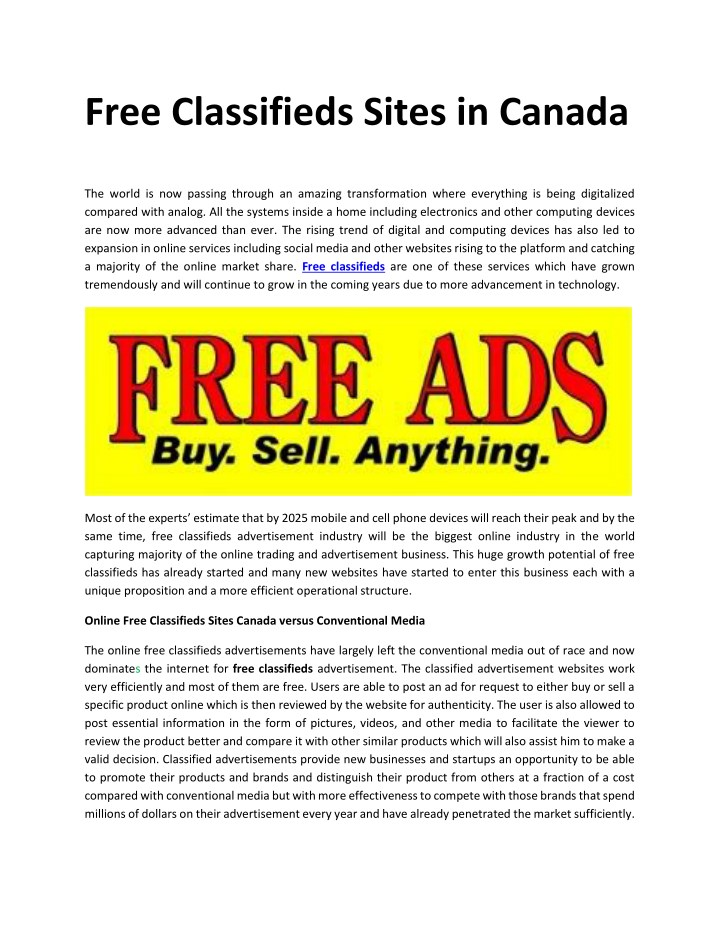 free classifieds sites in canada n.