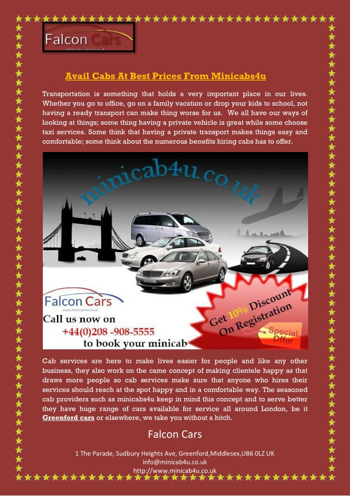 avail cabs at best prices from minicabs4u n.