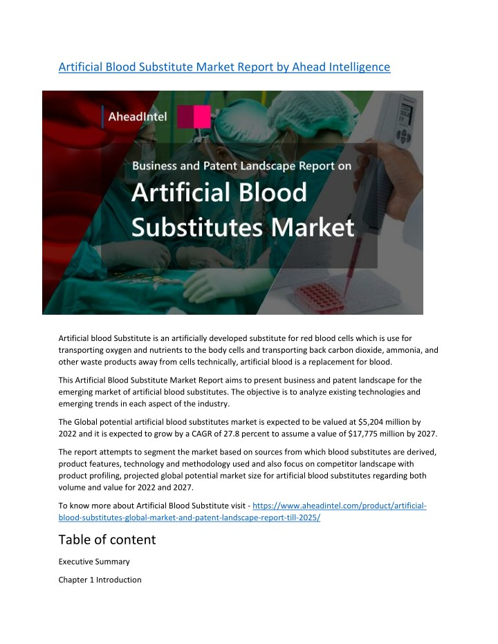 artificial blood substitute market report n.