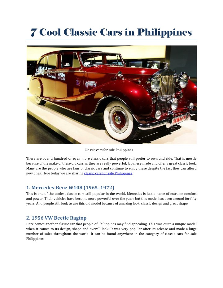 7 cool classic cars in philippines n.