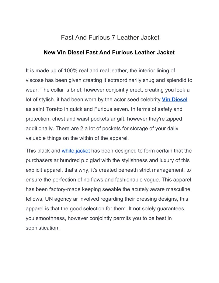 fast and furious 7 leather jacket n.