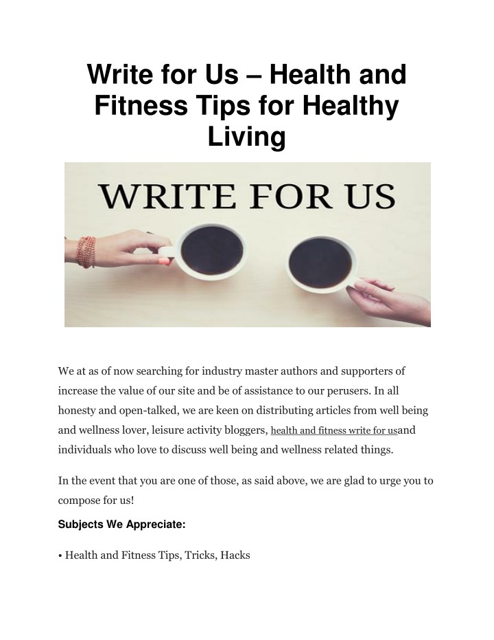PPT - Write for Us – Health and Fitness Tips for Healthy