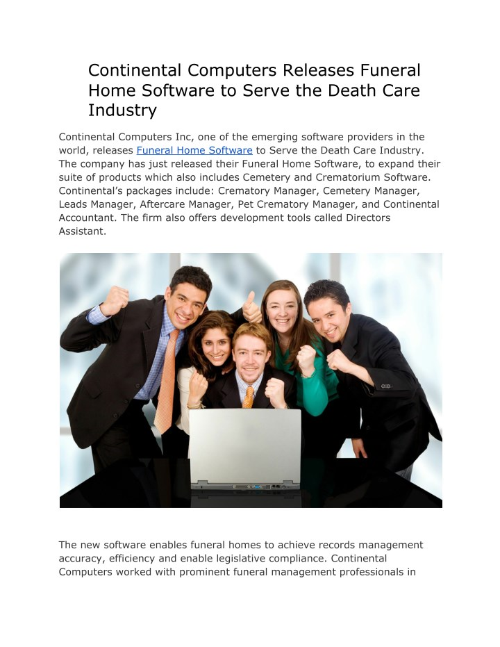 continental computers releases funeral home n.
