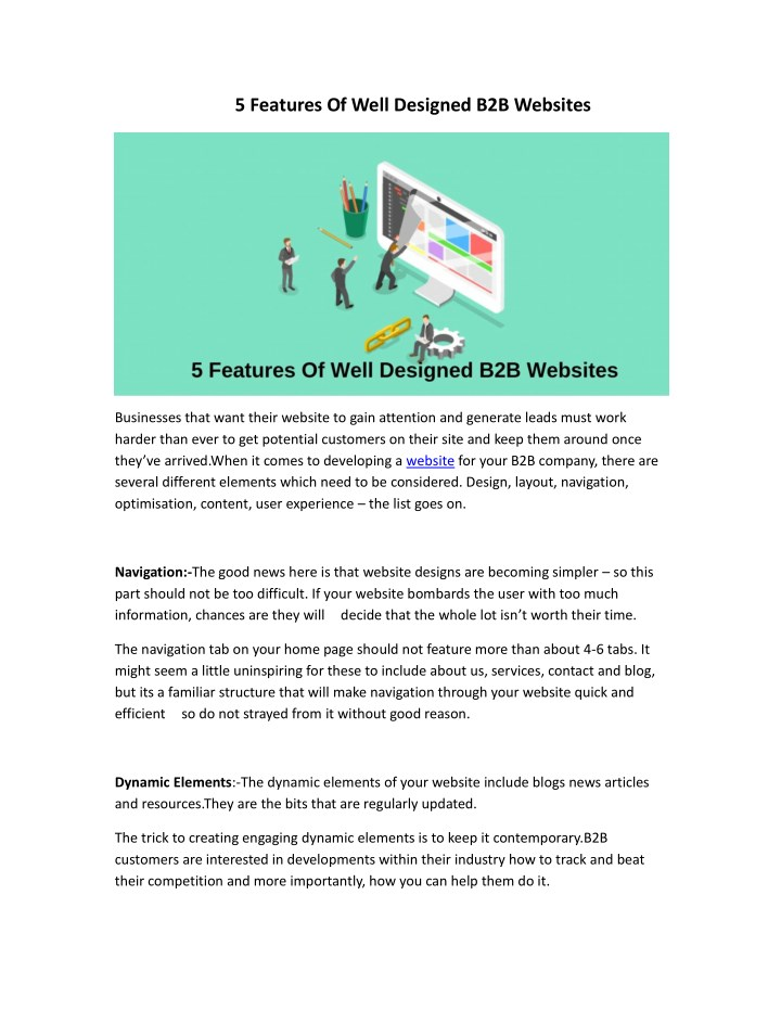 5 features of well designed b2b websites n.