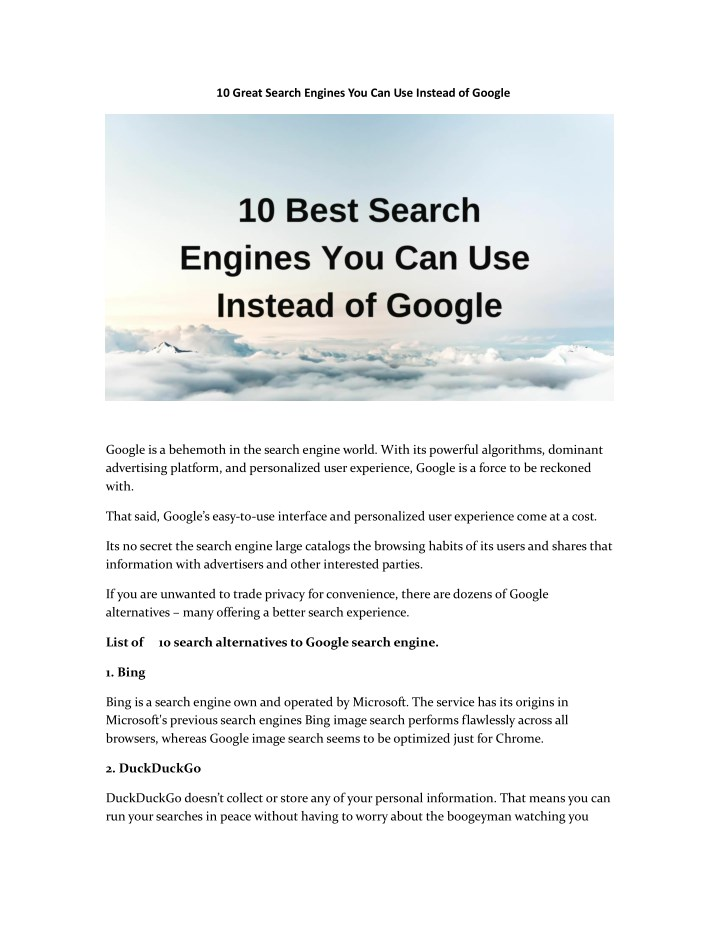10 great search engines you can use instead n.