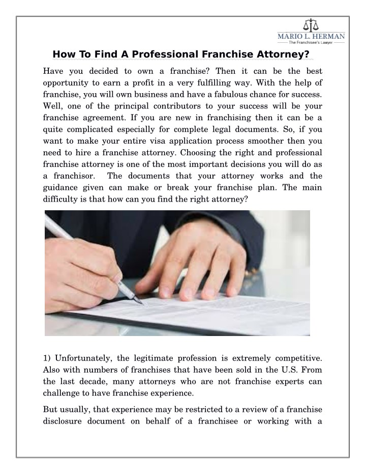 how to find a professional franchise attorney n.