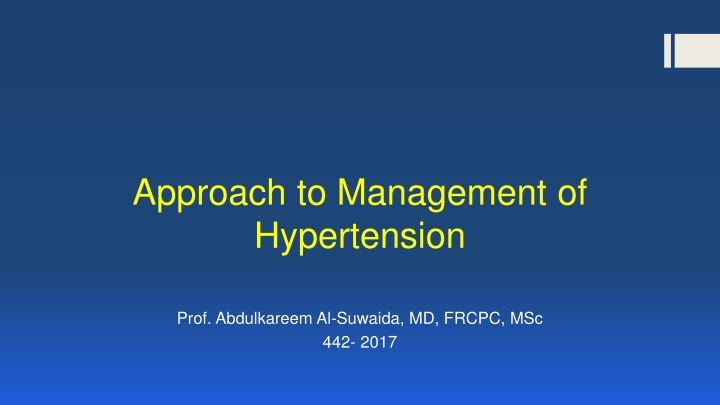 approach to management of hypertension n.