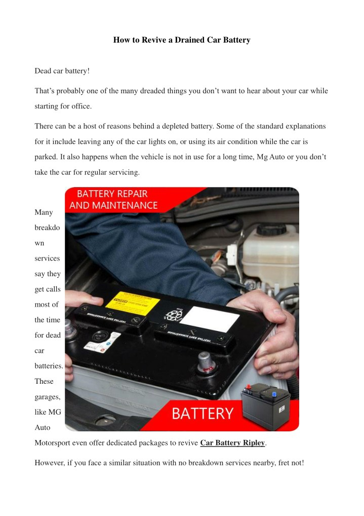 how to revive a drained car battery n.