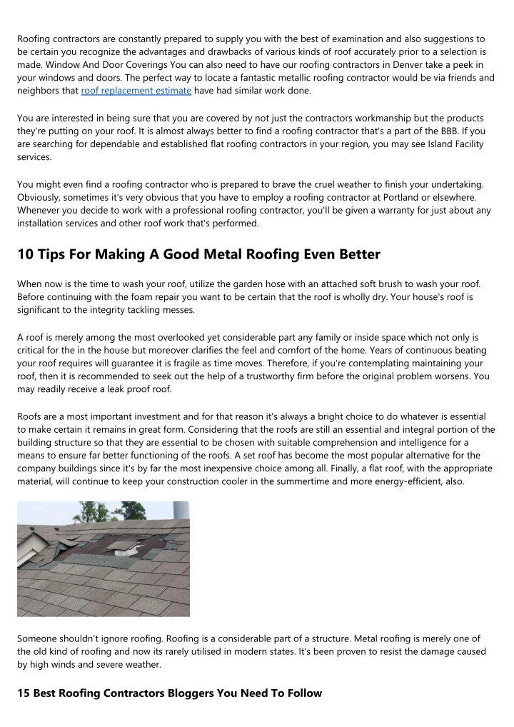roofing contractors are constantly prepared n.