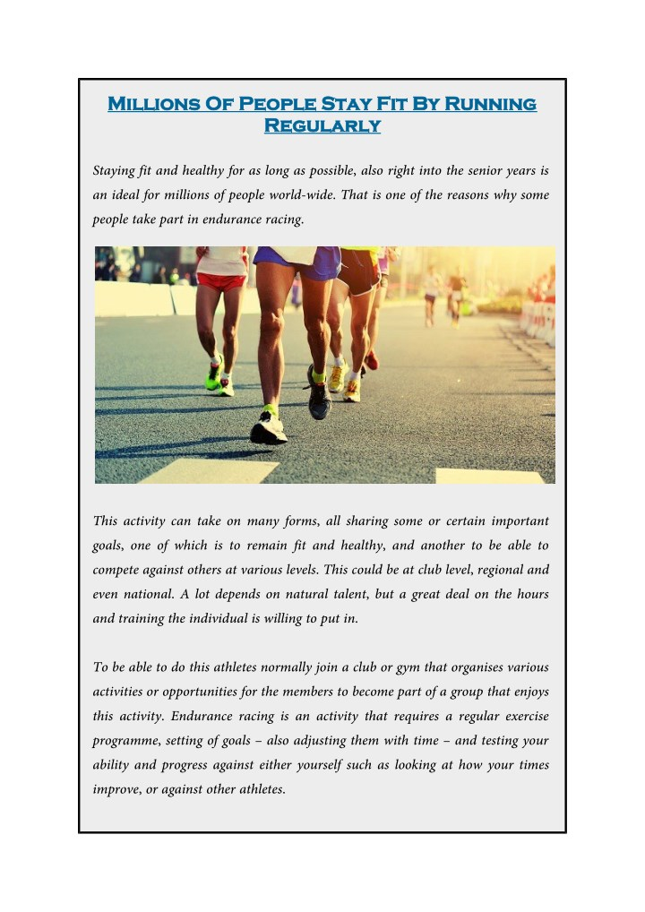 millions of people stay fit by running millions n.