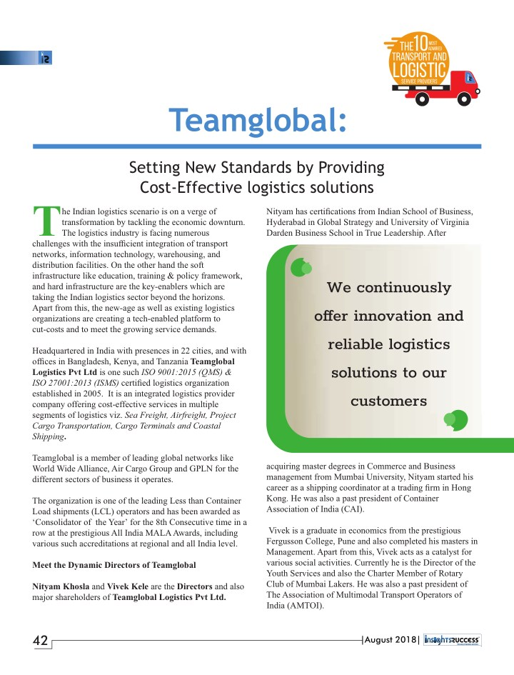 PPT - The 10 Most Admired Transport & Logistic Service