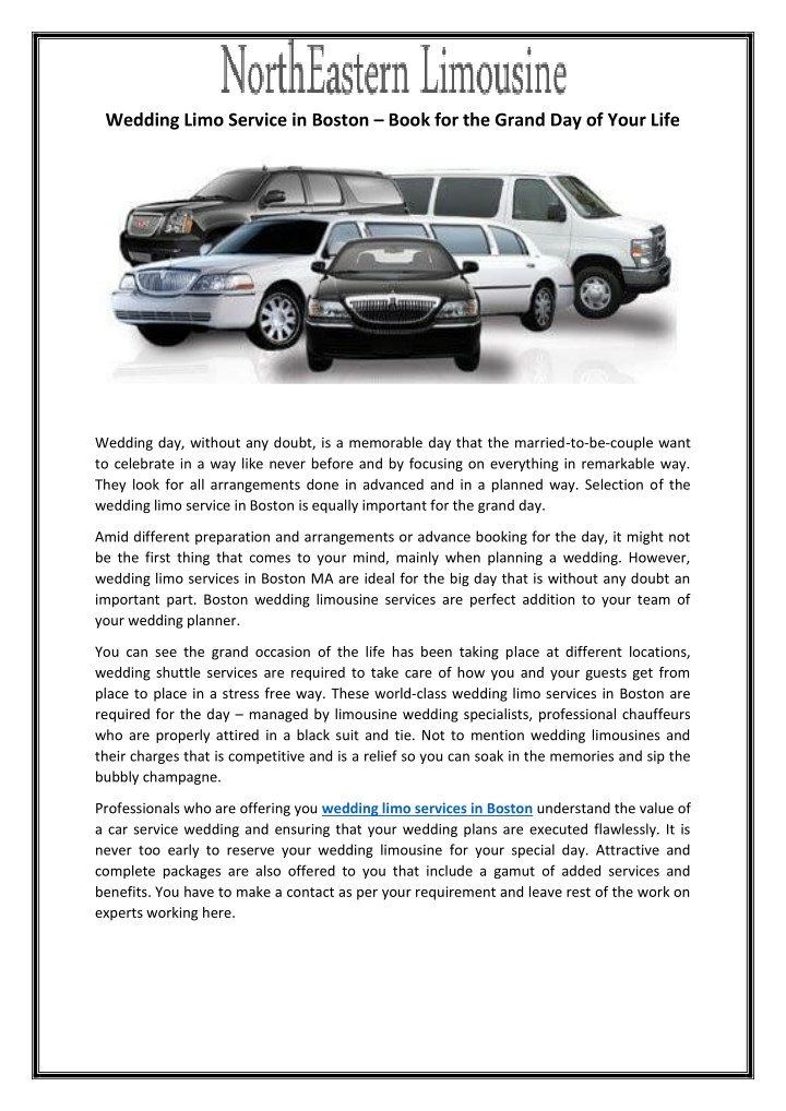 wedding limo service in boston book for the grand n.