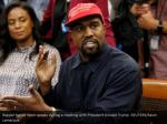 rapper kanye west speaks during a meeting with 3