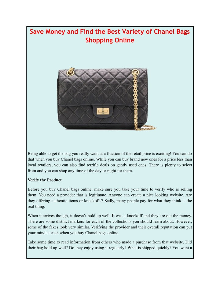save money and find the best variety of chanel n.