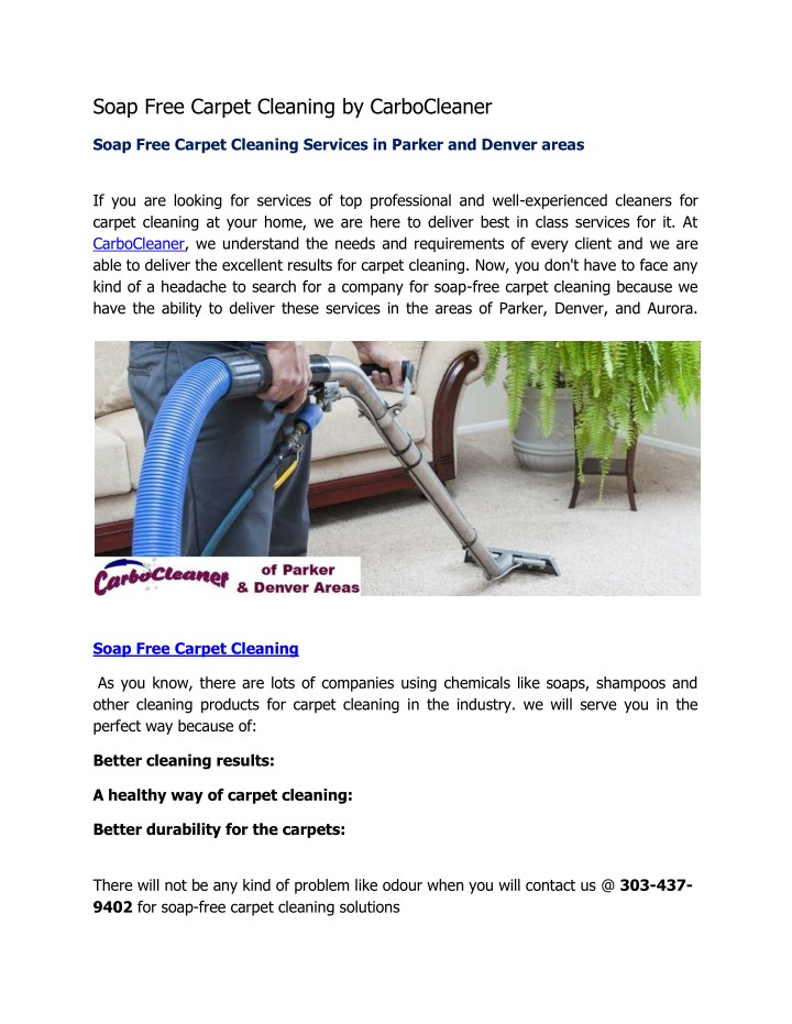 soap free carpet cleaning by carbocleaner n.