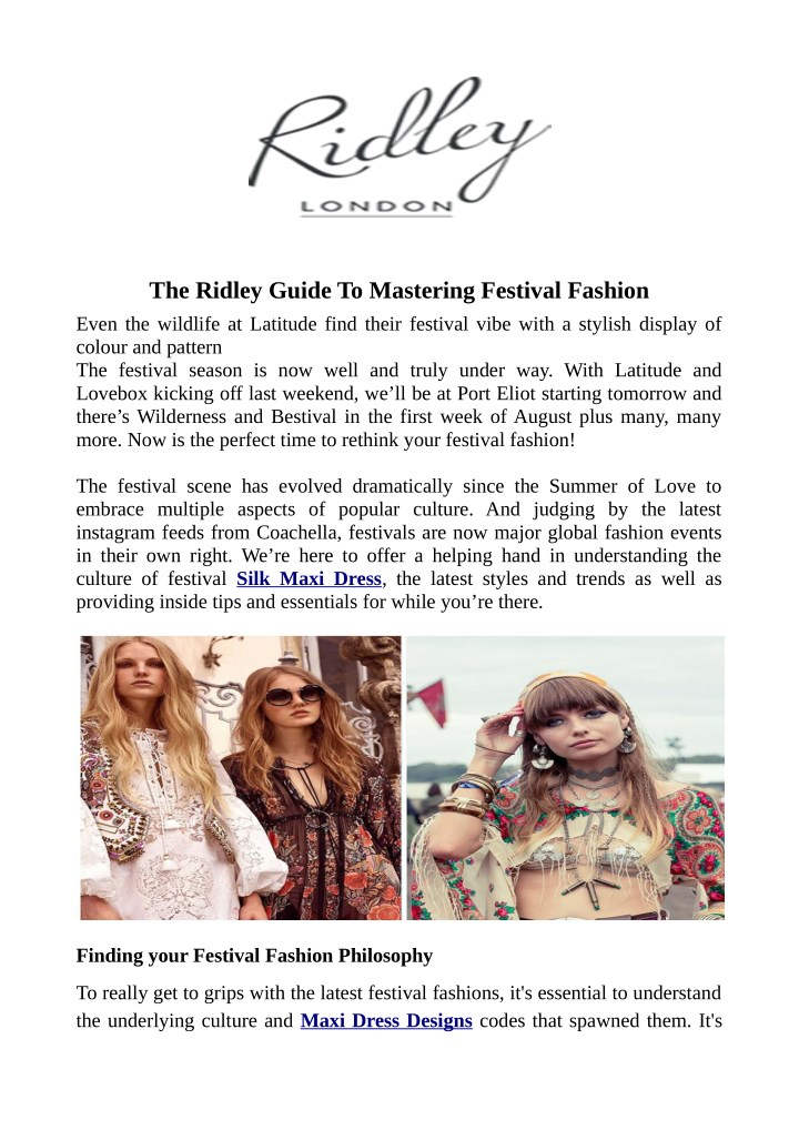 the ridley guide to mastering festival fashion n.