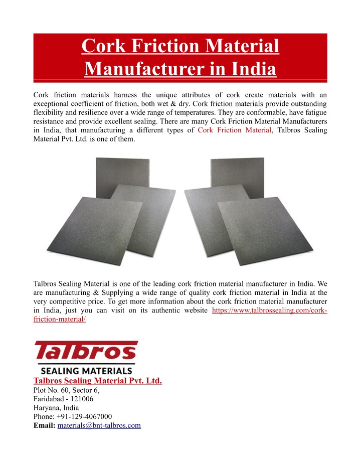 cork friction material manufacturer in india n.