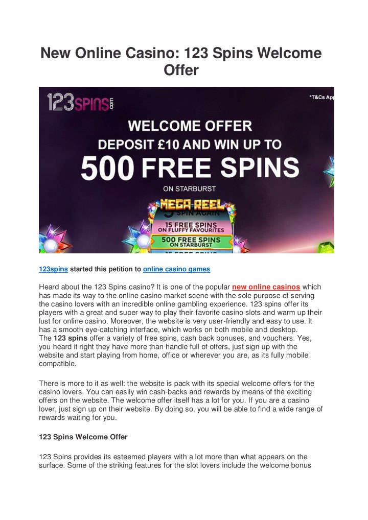 new online casino 123 spins welcome offer n.